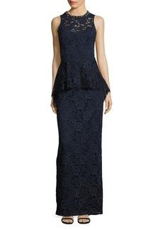 Teri Jon Sleeveless Floral Lace Peplum Gown