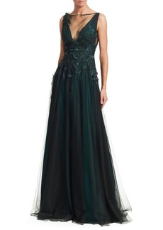 Teri Jon Sleeveless Tulle V-Neck Appliqué A-Line Gown