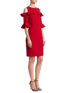 Teri Jon Stretch Crepe Ruffled Cold-Shoulder Dress
