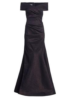 Teri Jon Stretch Metallic Off-the-Shoulder Gown