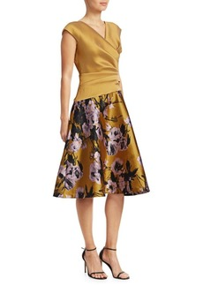 Teri Jon Stretch Mikado & Floral Jacquard Dress