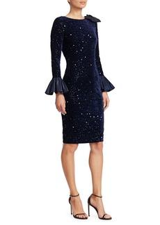 Teri Jon Taffeta Bell-Sleeve Velvet Sequin Bodycon Dress