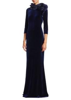Teri Jon Taffeta Shoulder Velvet A-Line Gown