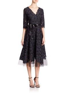 Teri Jon Embroidered Lace & Tulle Flare Dress