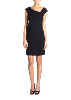 Teri Jon Asymmetrical Neckline Mini Dress