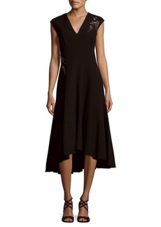 Teri Jon Beaded Asymmetrical Midi Dress