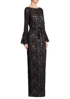 Teri Jon Bell-Sleeve Lace Gown