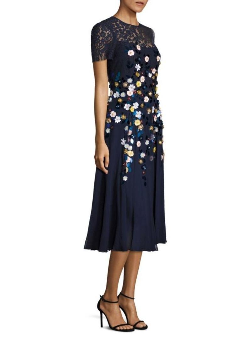 Teri Jon By Rickie Freeman Fl Detailed Dress
