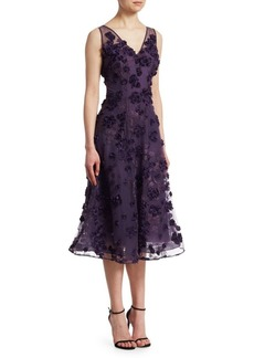 Teri Jon Appliquéd Embroidered Dress