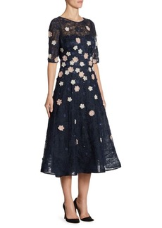 Teri Jon by Rickie Freeman Appliquéd Lace Fit-&-Flare Dress