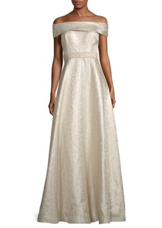 Teri Jon Bardot Jacquard A-Line Gown