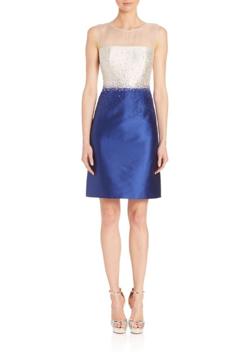 Teri Jon by Rickie Freeman Beaded Colorblock Dress