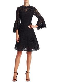 Teri Jon by Rickie Freeman Bell Sleeve Lace Dress