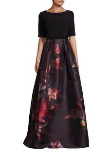 Teri Jon by Rickie Freeman Belted Floral-Print Gown