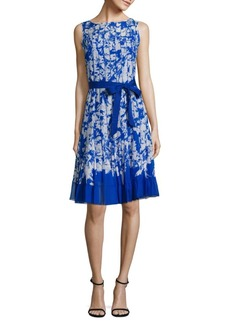 Teri Jon by Rickie Freeman Belted Pleated Dress