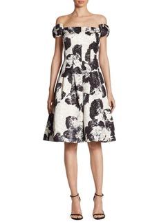 Teri Jon by Rickie Freeman Bow Floral Brocade Off-The-Shoulder Dress
