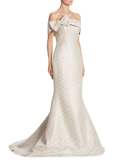 Teri Jon by Rickie Freeman Bow Gown Platinum Off-The-Shoulder Gown
