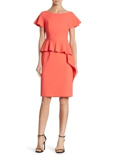 Teri Jon by Rickie Freeman Cap Sleeve Peplum Dress