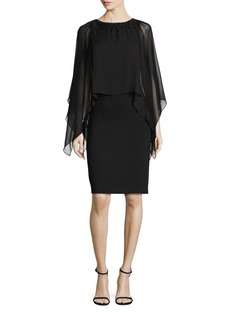 Teri Jon by Rickie Freeman Cape-Sleeve Embellished Neck Dress