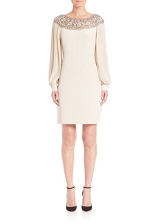 Teri Jon by Rickie Freeman Champagne Beaded A-line Dress