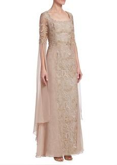 Teri Jon Chiffon & Lace Gown