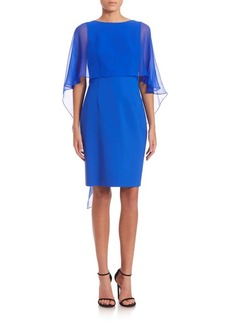 Teri Jon by Rickie Freeman Chiffon Cape Sleeve Dress