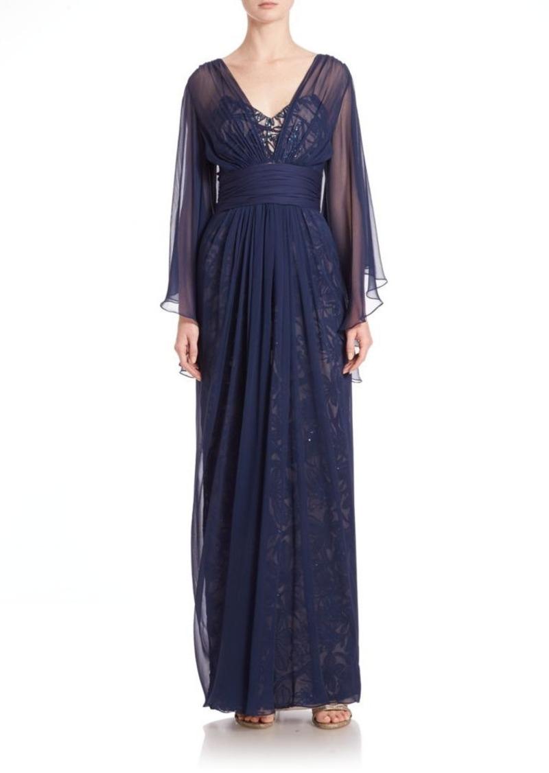Teri Jon by Rickie Freeman Chiffon Over Lace Silk Gown