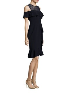 Teri Jon by Rickie Freeman Cold-Shoulder Lace Dress