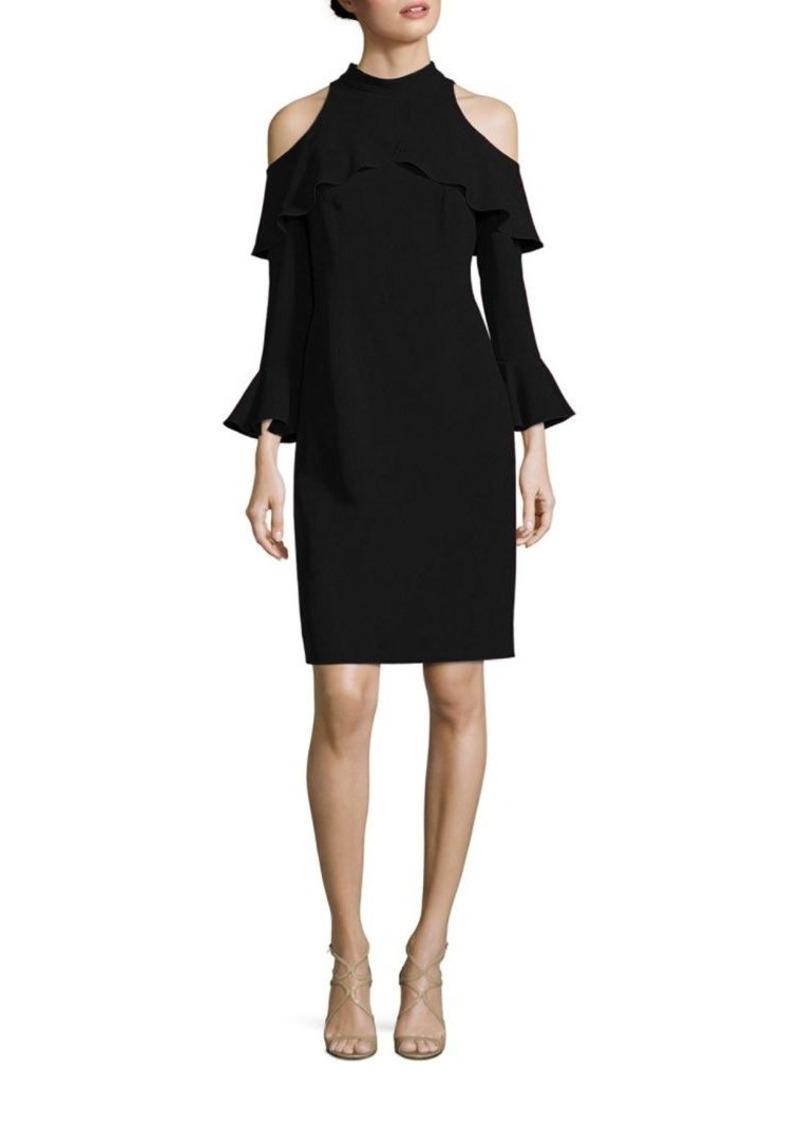 c9a04548b3f Teri Jon by Rickie Freeman Cold-Shoulder Bell Sleeve Mockneck Dress