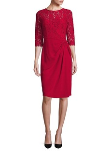Teri Jon by Rickie Freeman Crepe & Lace Sheath Dress