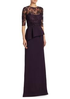 Teri Jon Crepe Beaded Lace Gown
