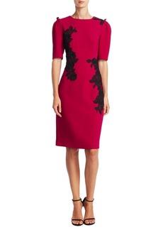 Teri Jon by Rickie Freeman Elbow-Sleeve Floral Applique Dress