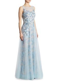 Teri Jon by Rickie Freeman Embellished Appliquéd Tulle Gown