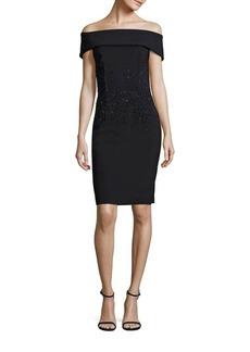 Teri Jon Embellished Off-The-Shoulder Bodycon Dress