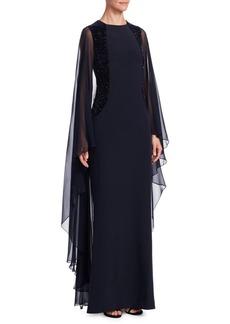 Teri Jon Embellished Crystal Velvet Evening Gown
