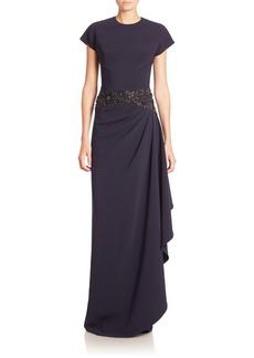 Teri Jon by Rickie Freeman Embellished Draped Gown