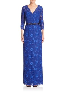 Teri Jon by Rickie Freeman Embellished Floral Lace Gown