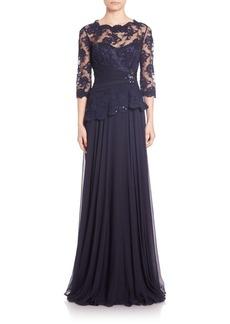Teri Jon by Rickie Freeman Embellished Lace & Chiffon Gown
