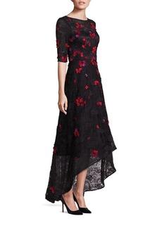 Teri Jon by Rickie Freeman Embellished Lace Hi-Lo Gown