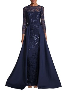 Teri Jon Embellished Lace Overlay Gown