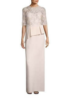 Teri Jon by Rickie Freeman Embellished Lace Peplum Gown