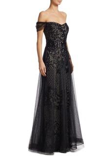 Teri Jon Embellished Off-The-Shoulder Sequin Gown