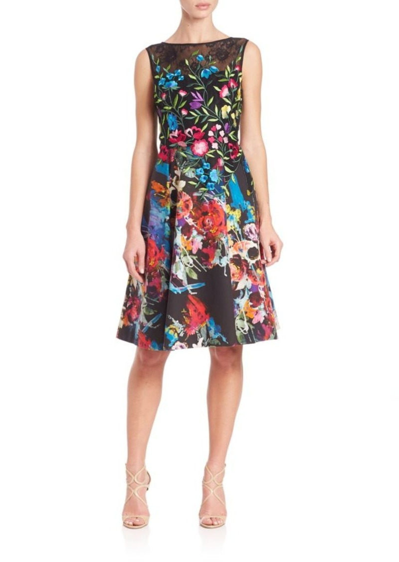 Teri Jon by Rickie Freeman Embroidered Floral Dress