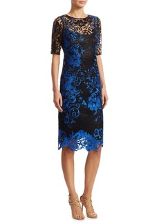 Embroidered Knee-Length Cocktail Dress
