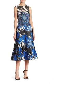 Teri Jon by Rickie Freeman Embroidered Lace Floral Dress