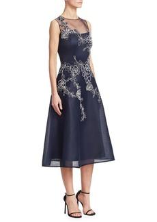 Teri Jon Embroidered Sleeveless A-Line Dress