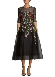 Teri Jon by Rickie Freeman Embroidery Midi Dress