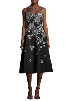 Teri Jon by Rickie Freeman Floral Embroidered Fit-&-Flare Dress
