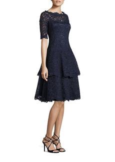 Teri Jon Floral Lace Tiered Dress