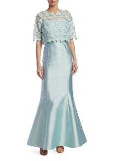 Teri Jon Floral Popover Gown